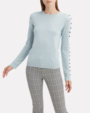 Blue Button Sleeve Sweater, BLUE, hi-res