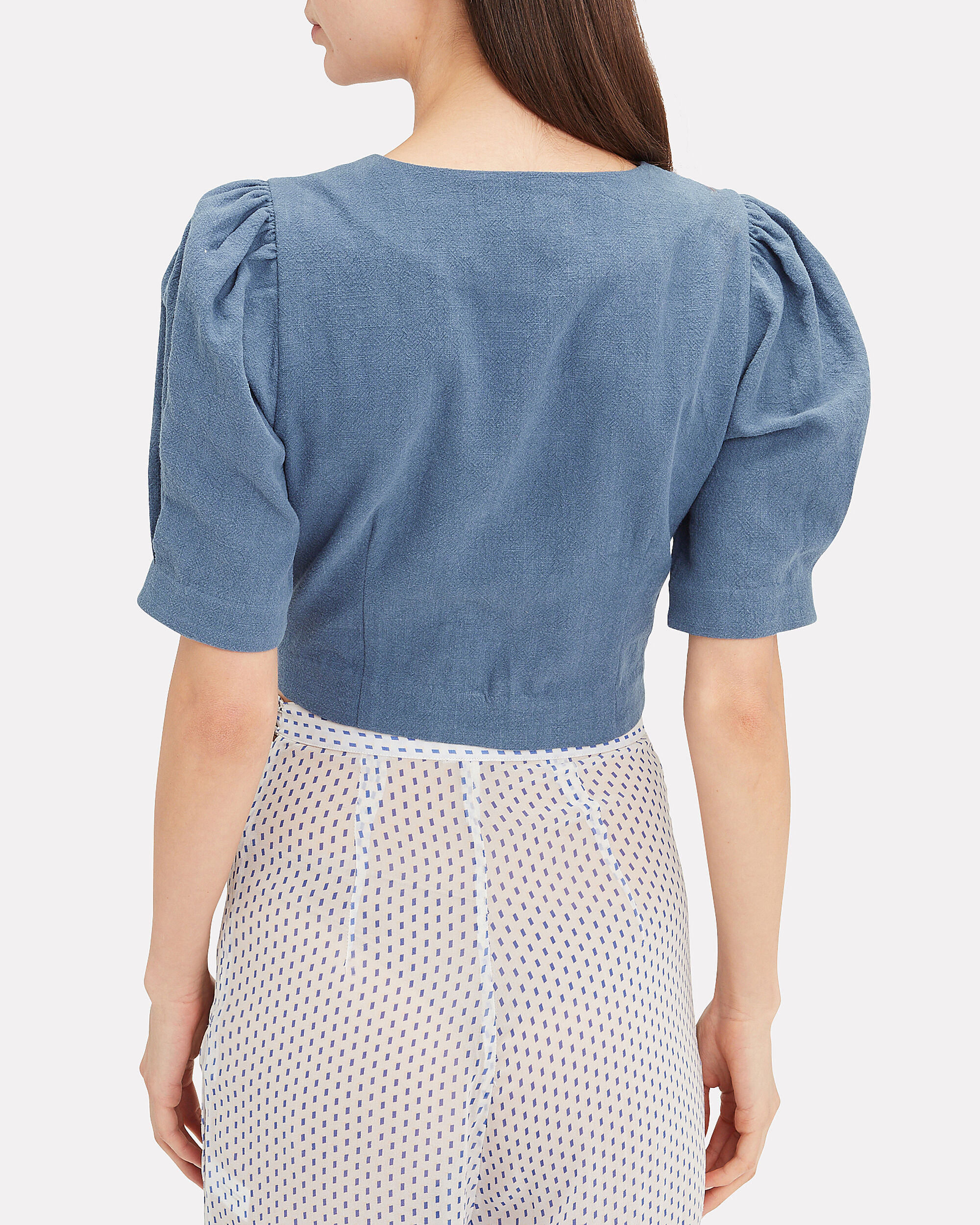 Tinley Denim Crop Top, MEDIUM BLUE DENIM, hi-res