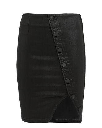 Jolene Buttoned Glaze Mini Skirt, BLACK, hi-res