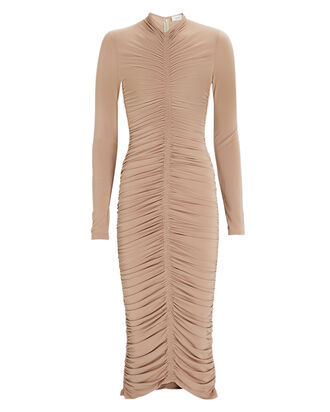 Ansel Ruched Jersey Dress, BEIGE, hi-res
