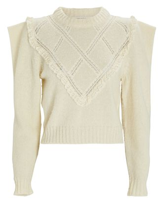 Lace Ruffle Wool Sweater, IVORY, hi-res