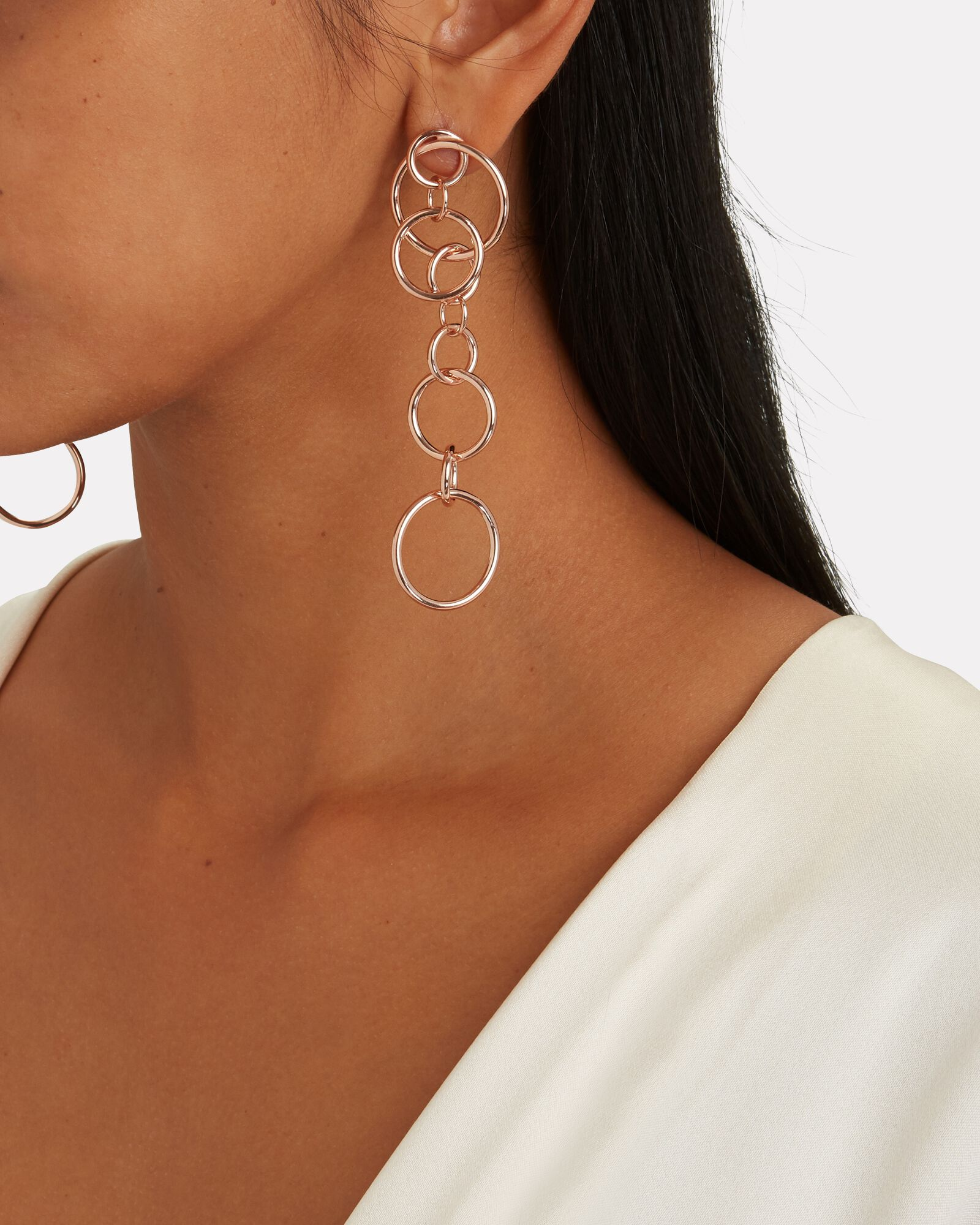 Shu Interlocking Circle Drop Earrings, ROSE, hi-res