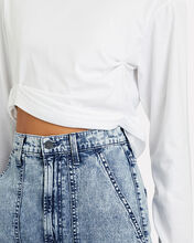 Chelly Ruched Cropped T-Shirt, WHITE, hi-res