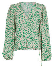 Floral Crepe Wrap Blouse, CREAM/GREEN FLORAL, hi-res
