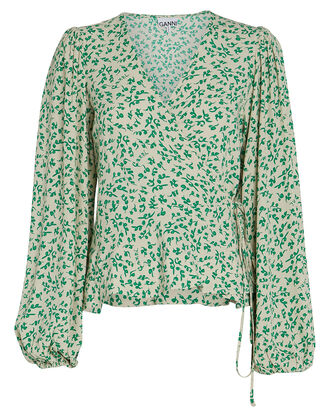 Floral Crepe Wrap Blouse, GREEN-LT, hi-res