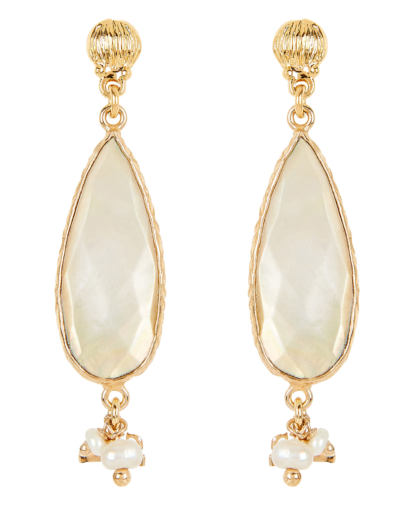 Serti Goutte Mother-Of-Pearl Earrings, GOLD/PEARL, hi-res