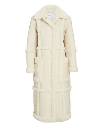 Patrice Faux-Shearling Trimmed Coat, IVORY, hi-res