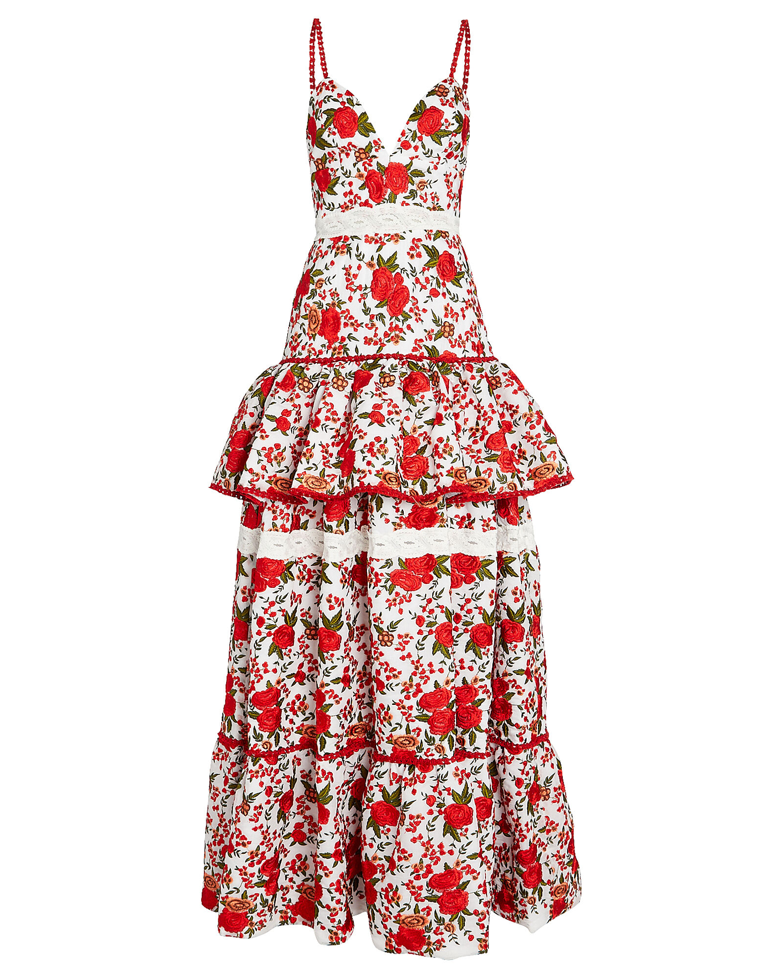 Naomie Tiered Rose Embroidered Gown, IVORY/RED, hi-res