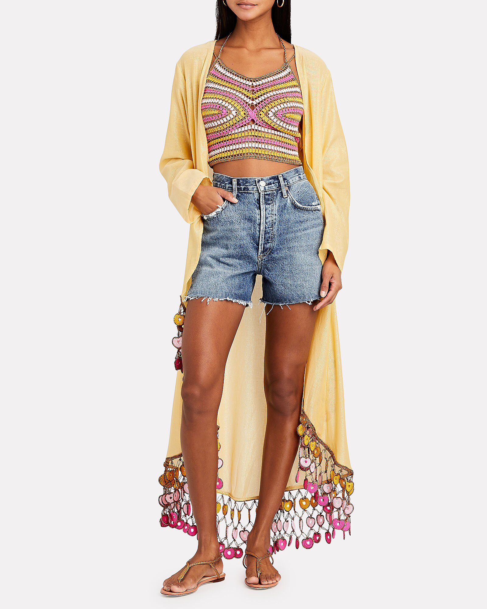 Crochet Tie Top, PINK/YELLOW, hi-res