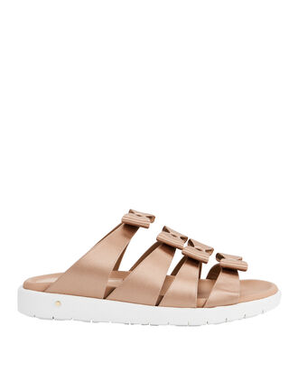 Rosabella Bow Slide Sandals, BEIGE, hi-res