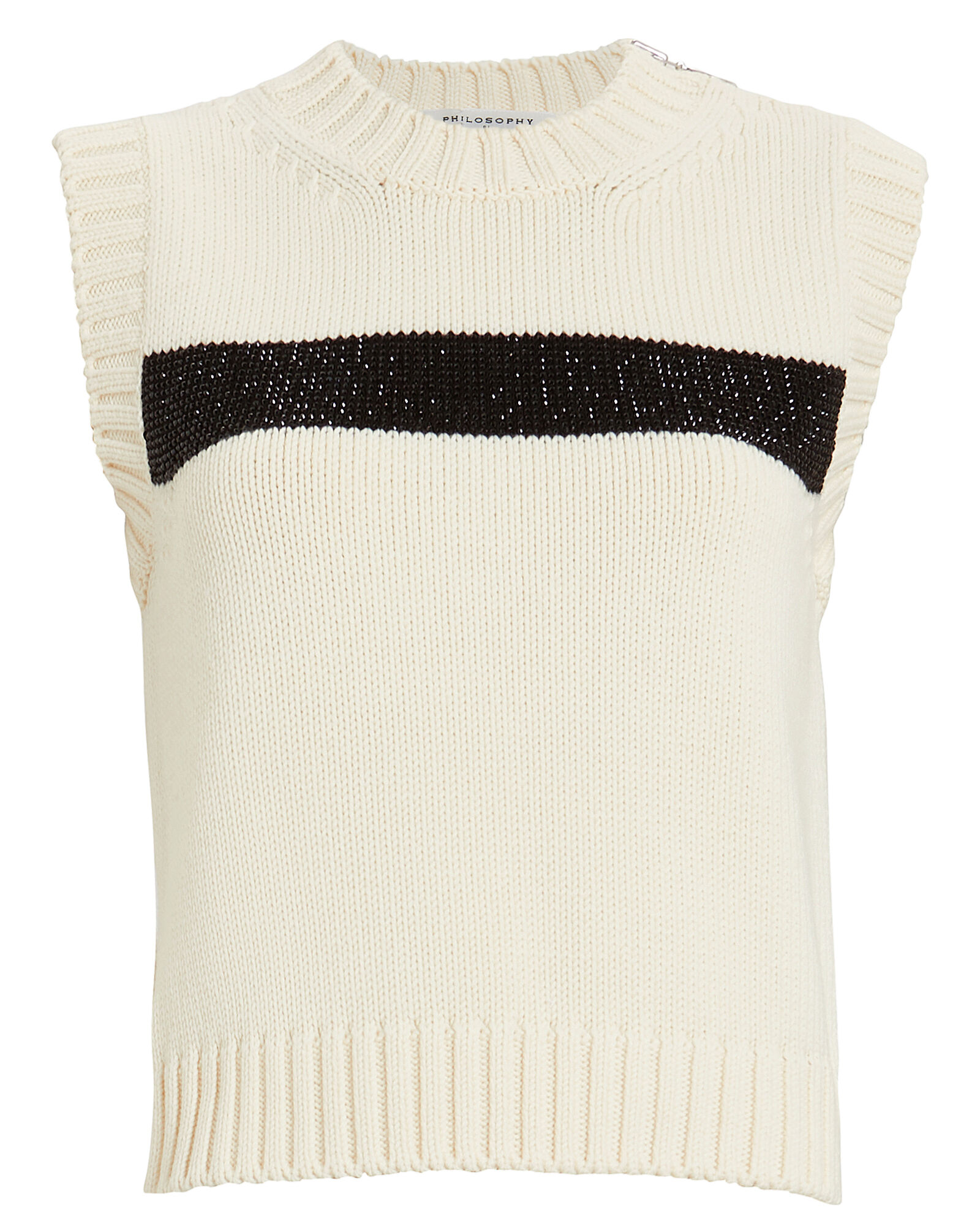 Embellished Virgin Wool Sweater Vest, IVORY, hi-res