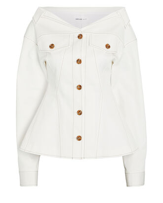 Bustier Denim Jacket, WHITE, hi-res