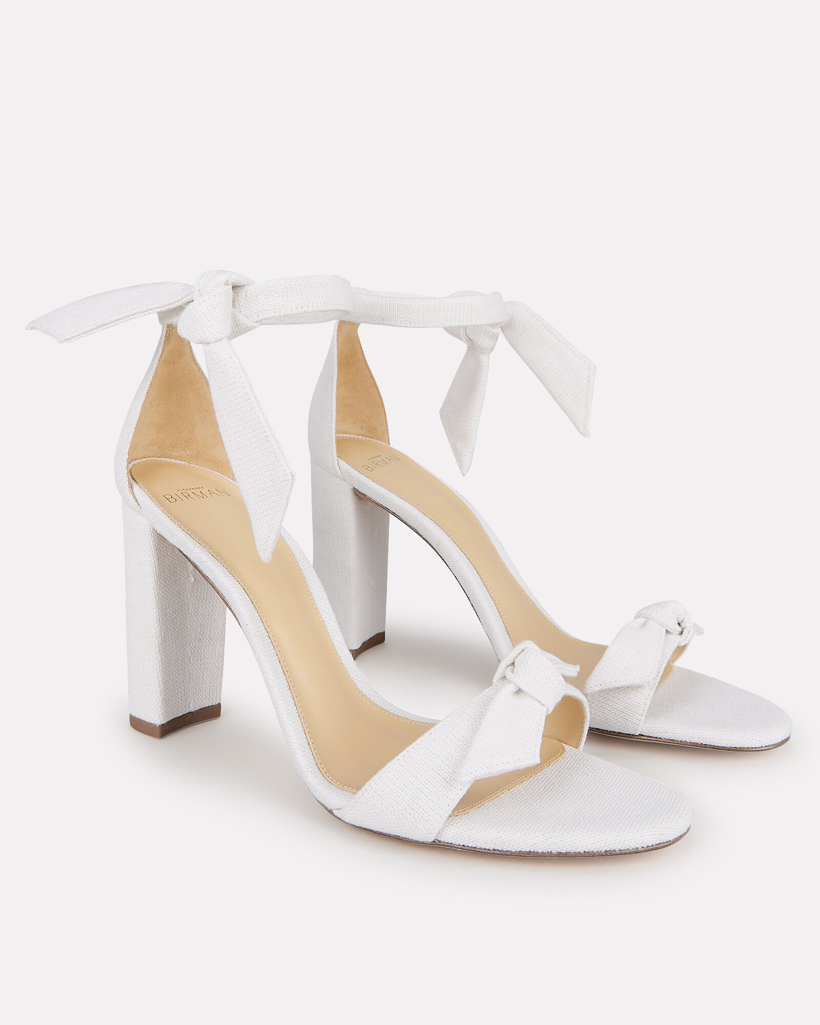 Clarita Block 90 Linen Sandals, WHITE, hi-res