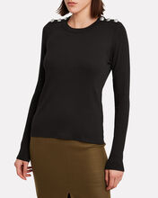 Mayer Button Shoulder Top, BLACK, hi-res