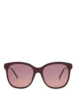 Oversized Wayfarer Sunglasses, BURGUNDY, hi-res