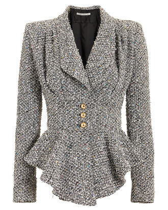 Sequinned Tweed Peplum Jacket, GREY, hi-res