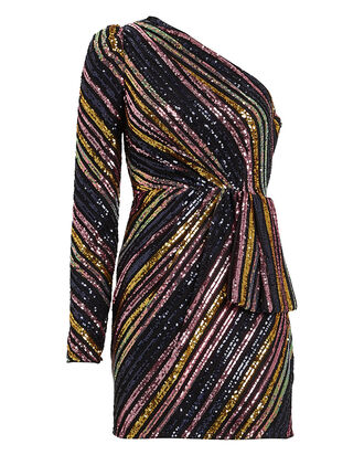 Striped Sequin One-Shoulder Dress, RAINBOW STRIPE/BLACK, hi-res
