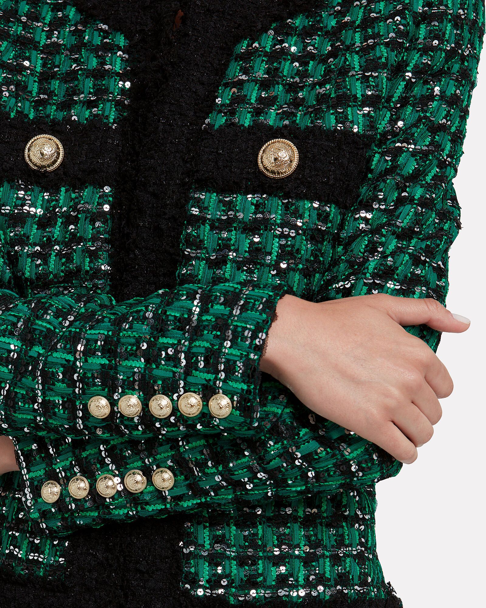 Sequin-Embellished Tweed Jacket, GREEN, hi-res