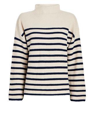 Claudia Striped Funnel Neck Sweater, IVORY, hi-res