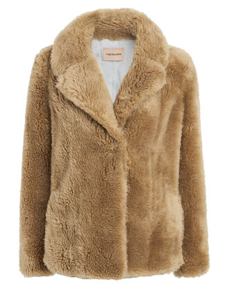 Curly Shearling Teddy Jacket, CARAMEL, hi-res