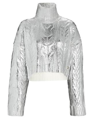 Metallic Cable Knit Turtleneck Sweater, SILVER, hi-res