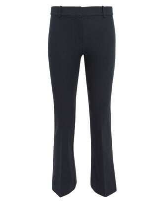Crop Flare Trousers, NAVY, hi-res
