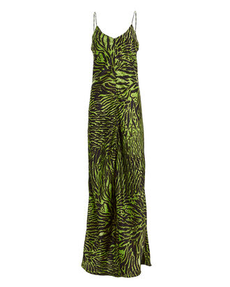 Tiger Print Silk Gown, GREEN/BLACK, hi-res