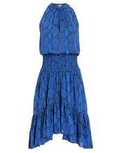 Riviera Snakeskin-Printed Silk Dress, BLUE-MED, hi-res