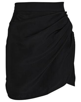 Sendai Satin Mini Wrap Skirt, BLACK, hi-res