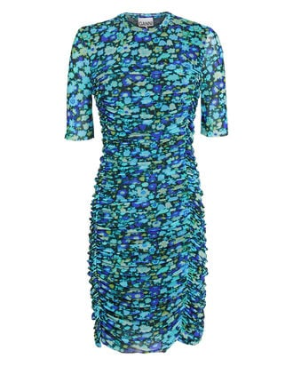 Floral Mesh Wrap Dress, AZURE BLUE, hi-res
