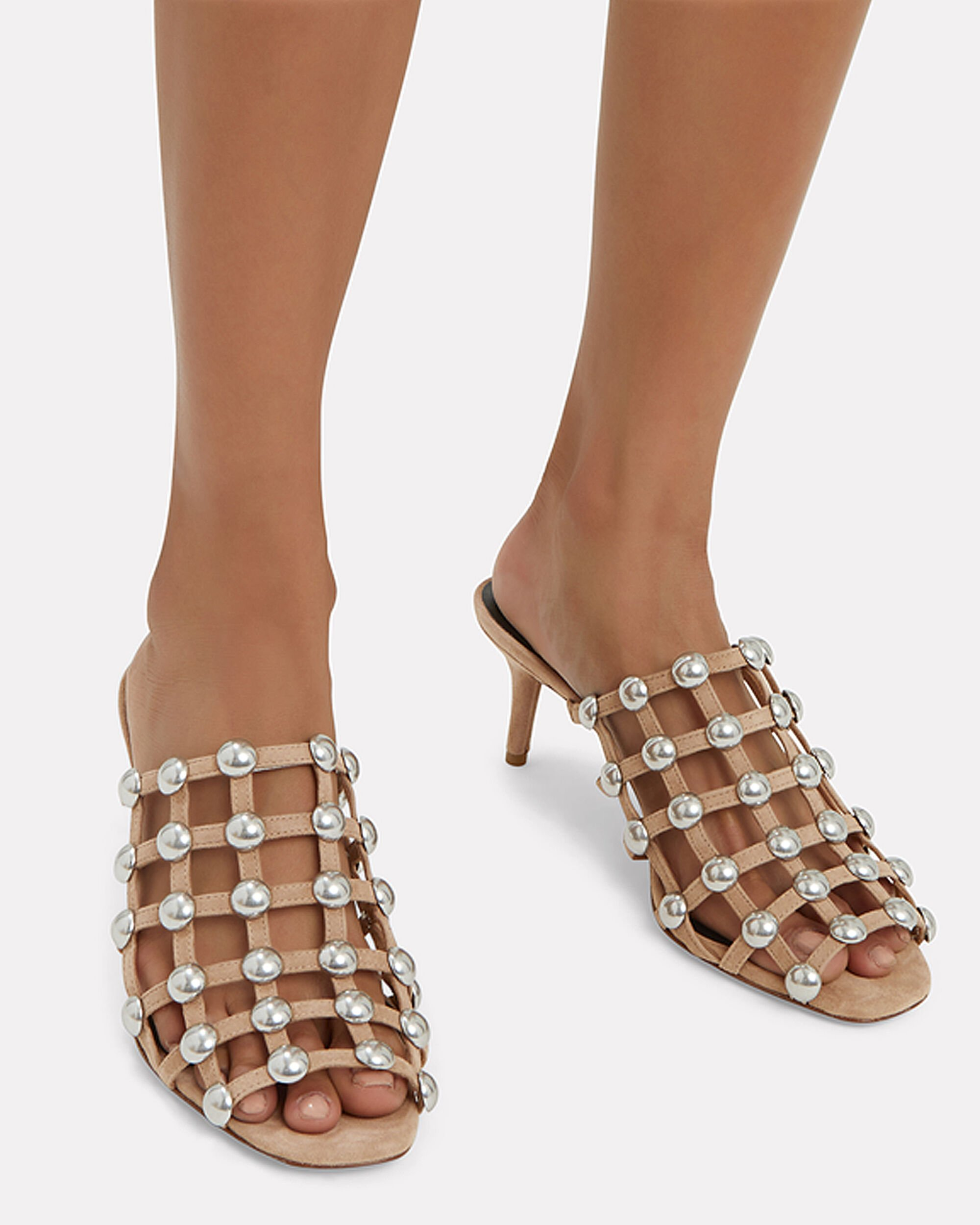 Sofia Low Heel Cage Sandals, BEIGE, hi-res