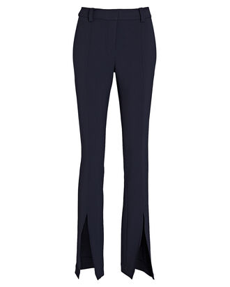 Conway Front Slit Pants, NAVY, hi-res