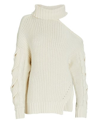 Aubrey Traveling Cable Knit Sweater, IVORY, hi-res