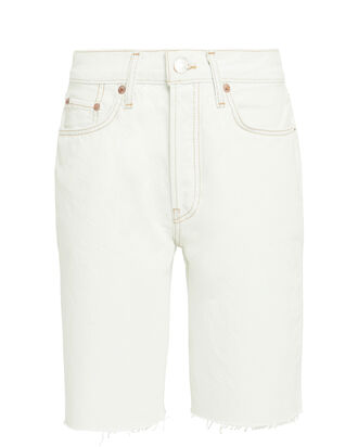 80's Long Denim Shorts, WHITE, hi-res