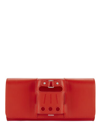 Le Cabriolet Glove Strap Clutch, RED, hi-res