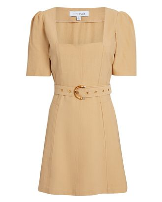 Florian Belted Mini Dress, BEIGE, hi-res
