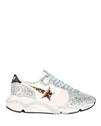 Running Sole Glitter Sneakers, SILVER, hi-res