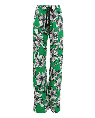 Makoto Floral Satin Pants, GREEN/FLORAL, hi-res