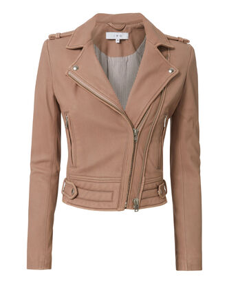 Luiga Pink Cropped Leather Jacket, PINK, hi-res