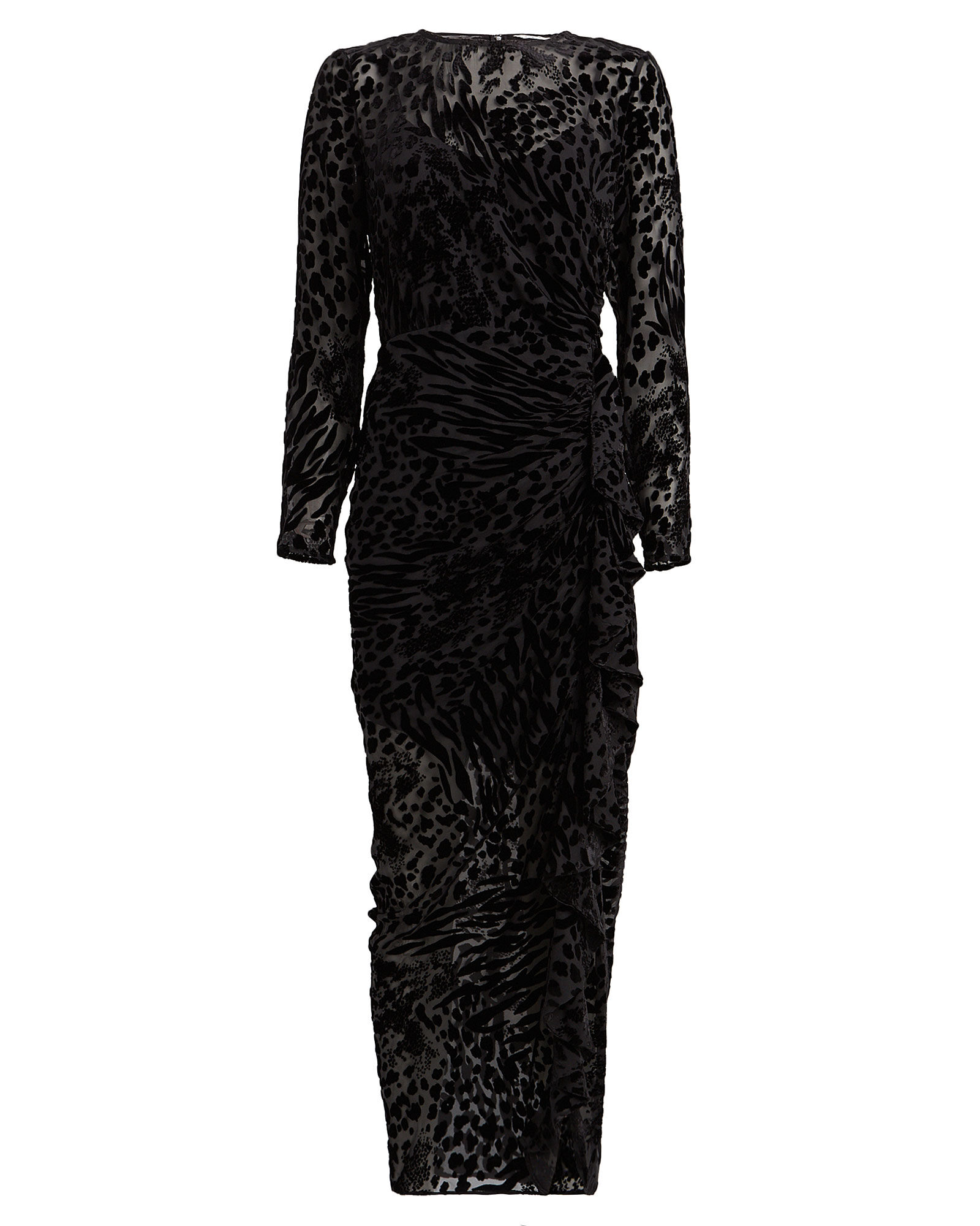 Lala Velvet Leopard Devoré Dress, BLACK, hi-res