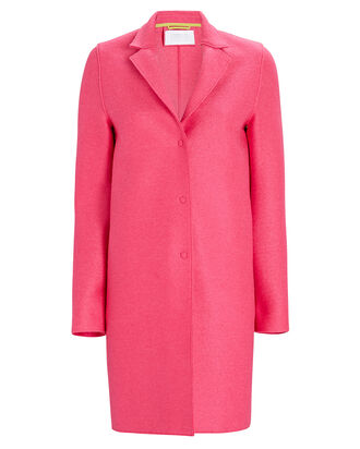 Cocoon Pressed Wool Coat, PINK, hi-res