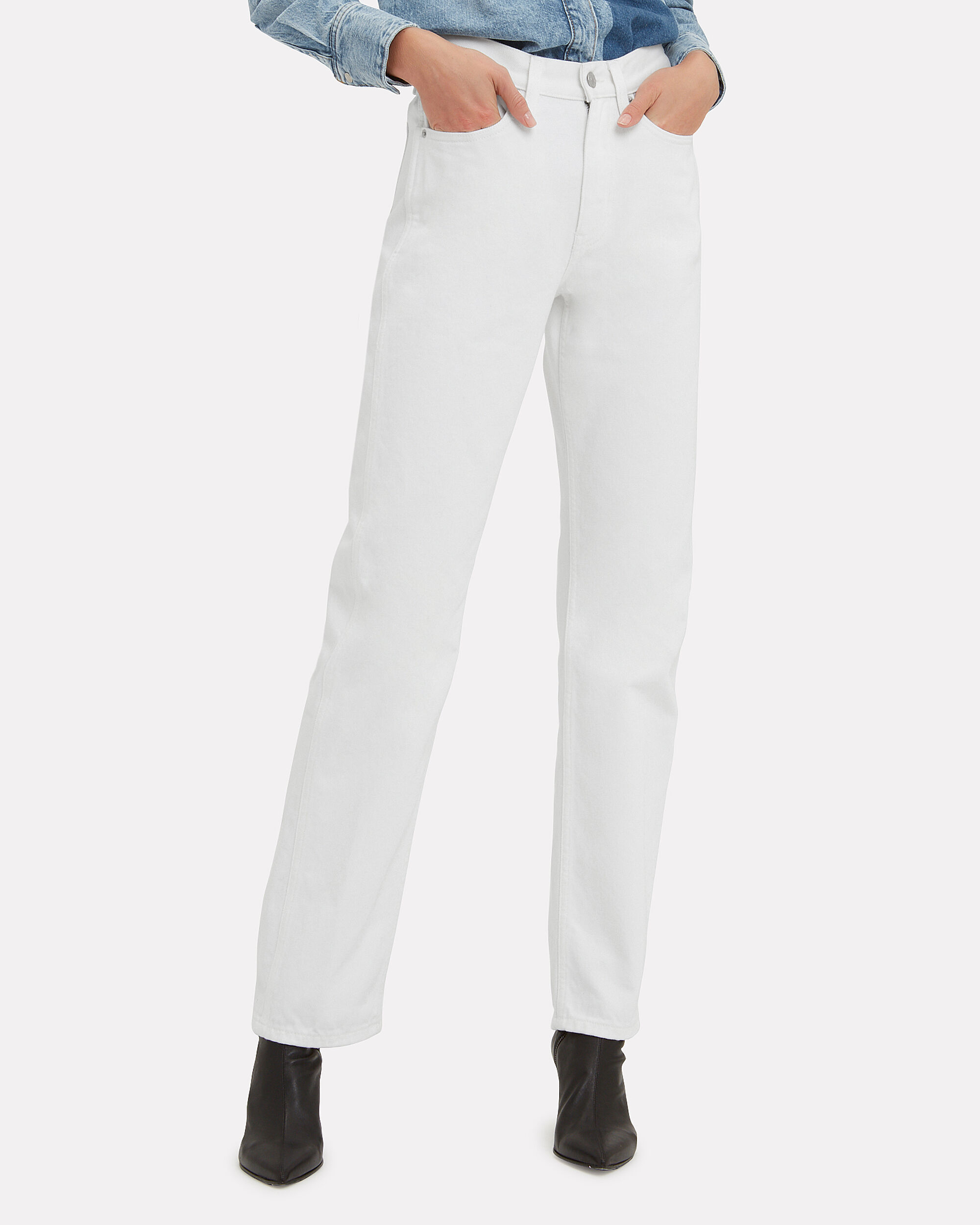 High-Rise Straight White Jeans, WHITE, hi-res