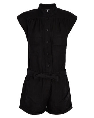 Sleeveless Linen Romper, BLACK, hi-res
