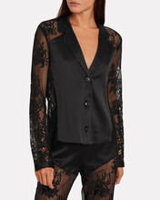 Cillis Silk Lace Pajama Top, BLACK, hi-res