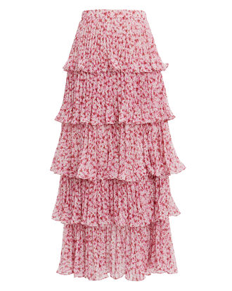 Paisley Tiered Maxi Skirt, PINK, hi-res