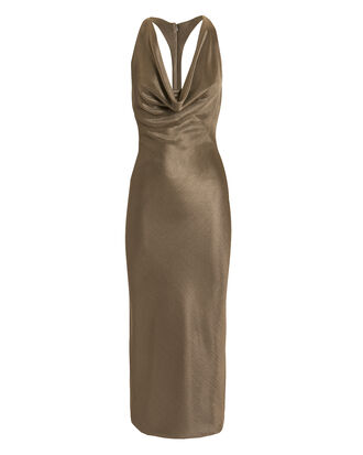 Cowl Neck Pencil Dress, BROWN, hi-res
