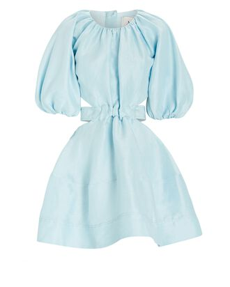 Mimosa Puff Sleeve Mini Dress, BLUE-LT, hi-res