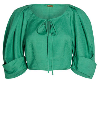 Johanna Linen Crop Top, GREEN-LT, hi-res