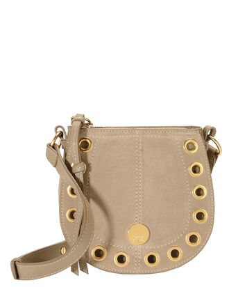 Gold Grommet Beige Crossbody Bag, GREY, hi-res