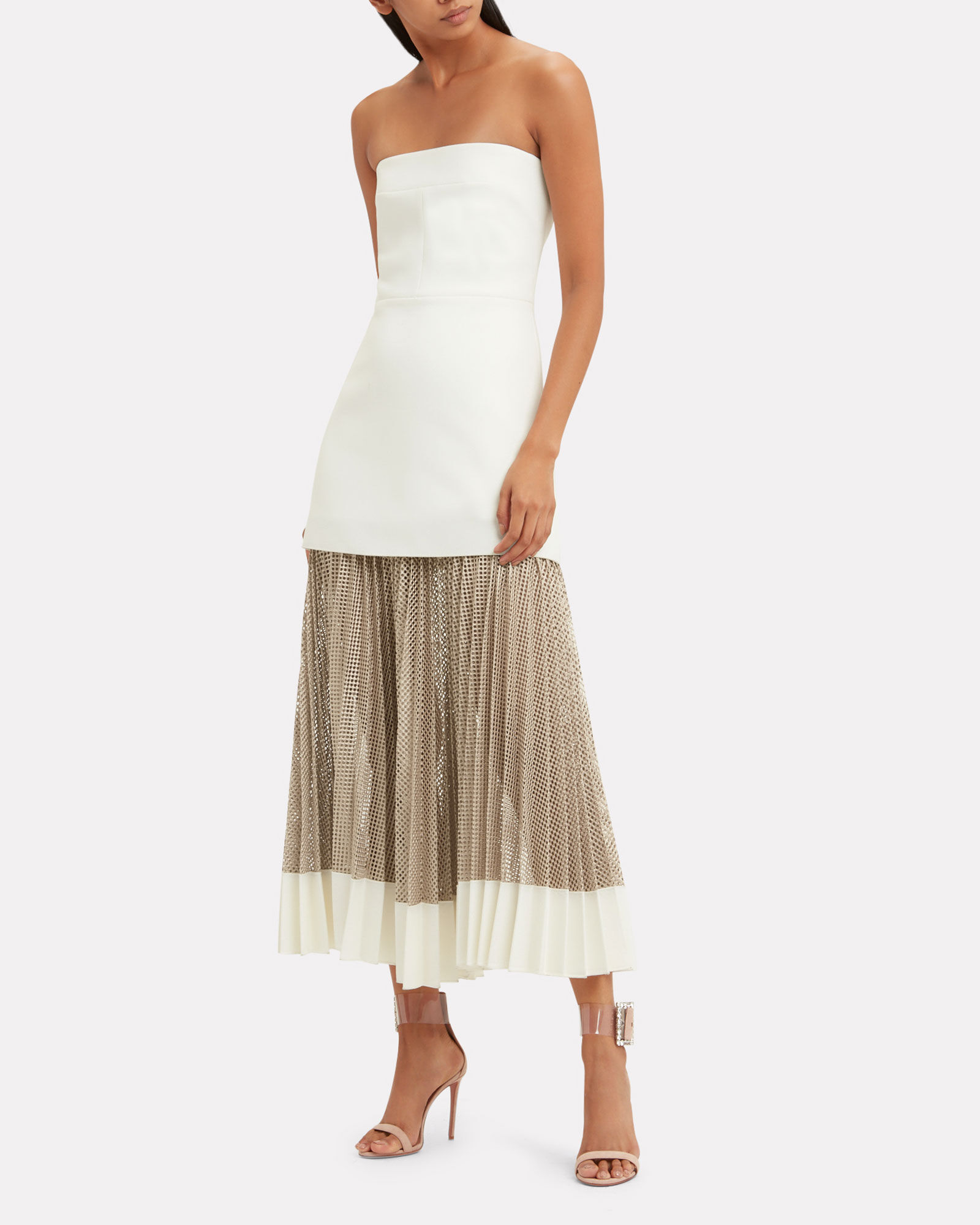 Strapless Bonded Crepe Net Pleated Dress, IVORY/BEIGE, hi-res